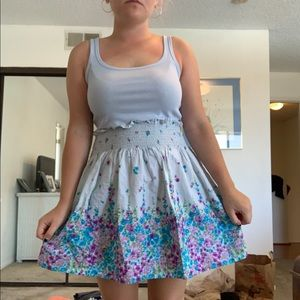 BLUE AND PURPLE PASTEL FLORAL SKIRT